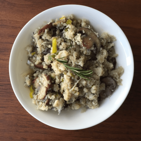 garlic risotto with sage and mushrooms